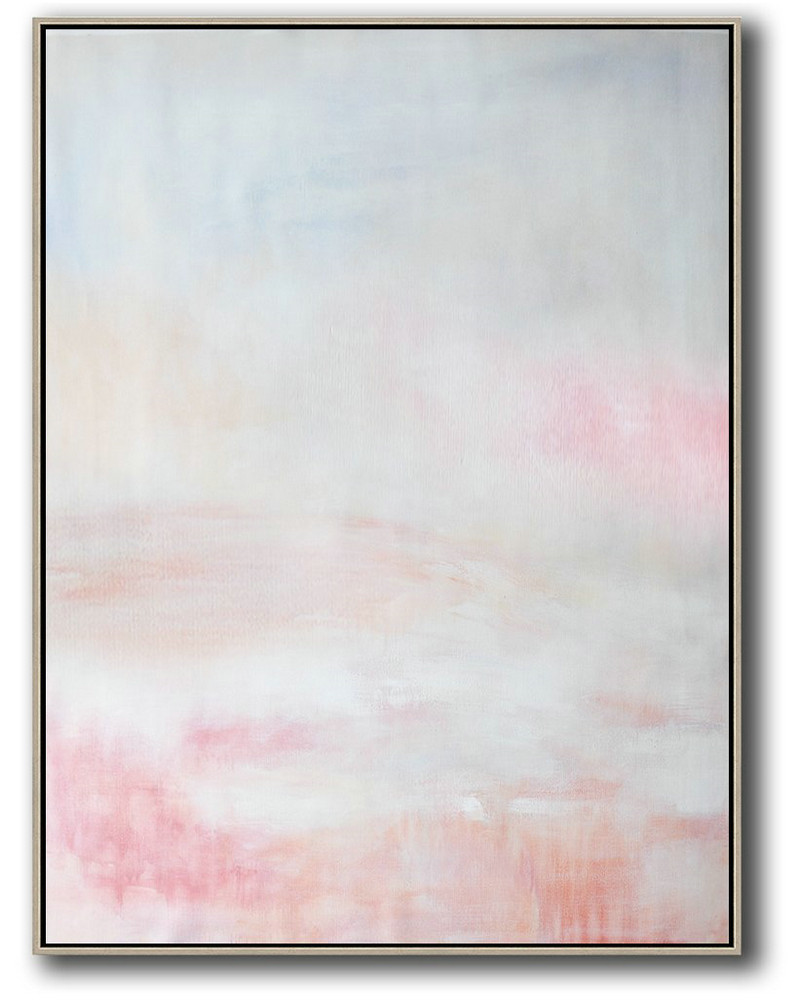Vertical Vertical Abstract Art On Canvas,Abstract Painting Modern Art,Grey,Pink,White
