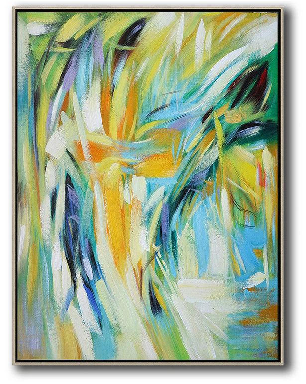 Vertical Palette Knife Contemporary Art,Huge Canvas Art On Canvas,Green,White,Yellow,Blue