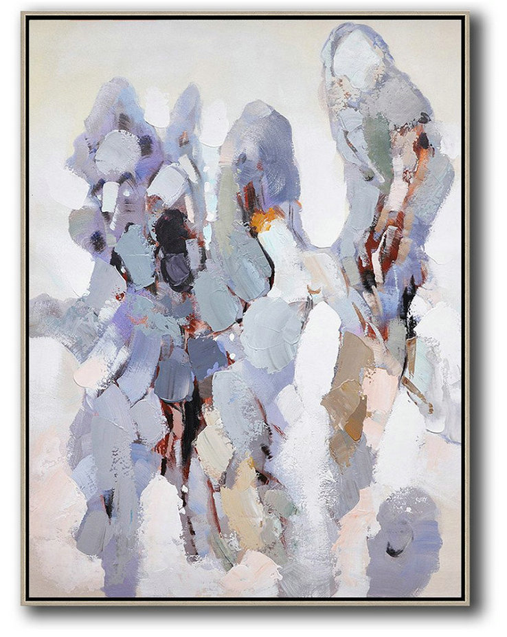 Vertical Palette Knife Contemporary Art,Canvas Paintings For Sale,Gray,White,Brown