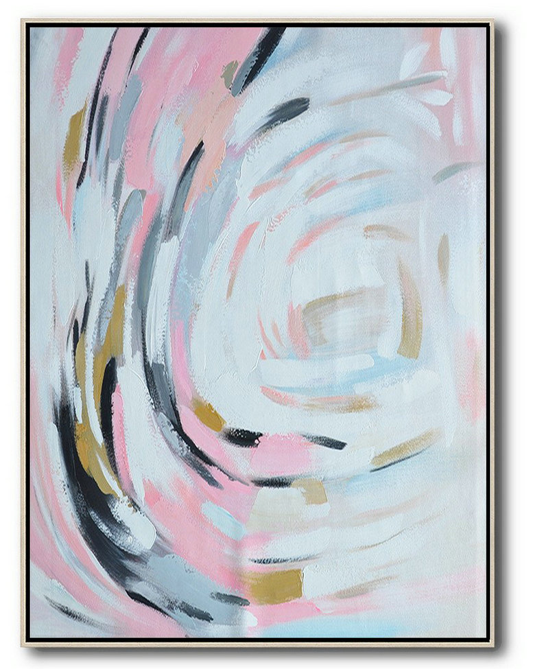Oversized Square Palette Knife Abstract Floral Painting On Canvas,Large Wall Art Canvas,Pink,White,Grey,Black