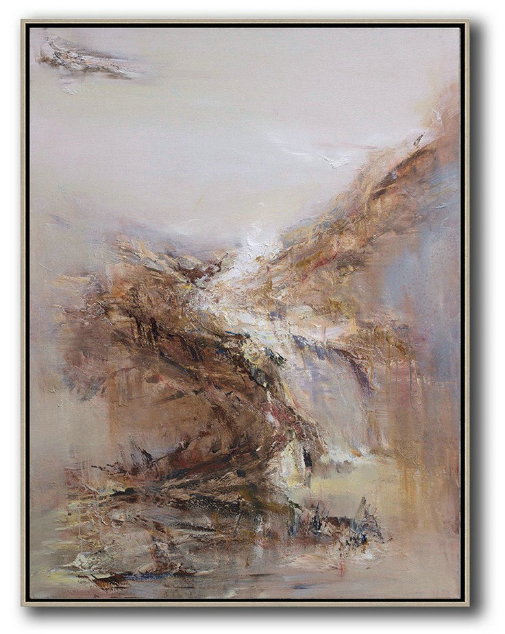 Abstract Landscape Oil Painting,Big Art Canvas,Grey,White,Brown,Yellow