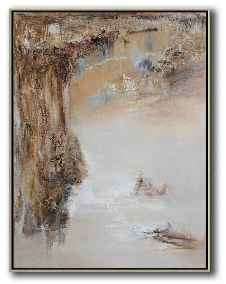 Abstract Landscape Oil Painting,Custom Canvas Wall Art,Brown,White,Grey