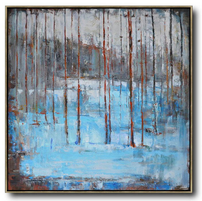Oversized Abstract Landscape Oil Painting Wall Art Ideas For Living Room Blue Gray Red Big Canvas Art