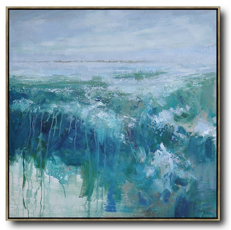 Oversized Abstract Landscape Oil Painting Big Painting Blue