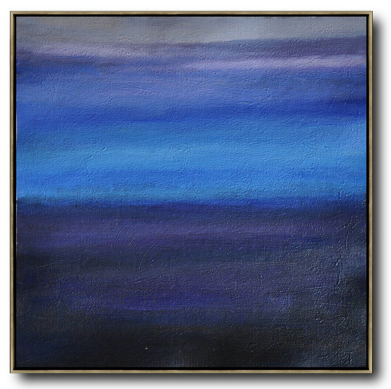 Oversized Abstract Landscape Painting,Canvas Wall Paintings,Gray,Blue,Black