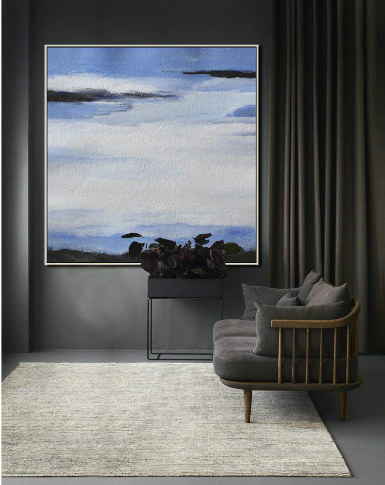 Oversized Abstract Landscape Painting,Xl Large Canvas Art,White,Blue,Black