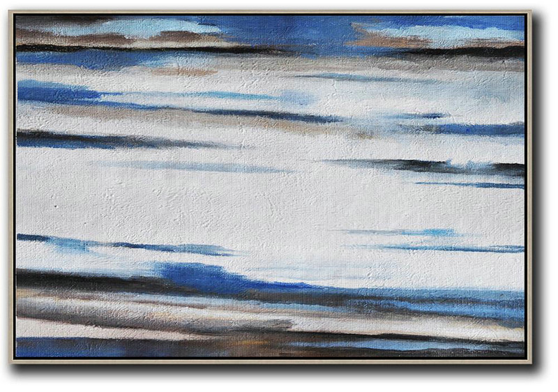 Horizontal Palette Knife Contemporary Art,Modern Wall Art,White,Blue,Brown