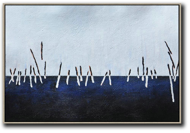 Horizontal Palette Knife Contemporary Art,Large Abstract Wall Art,White ,Dark Blue,Grey,Black