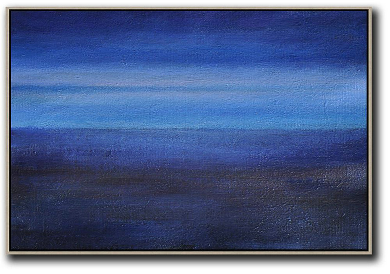 Horizontal Palette Knife Contemporary Art,Acrylic Painting On Canvas,Dark Blue,Black ,Light Blue