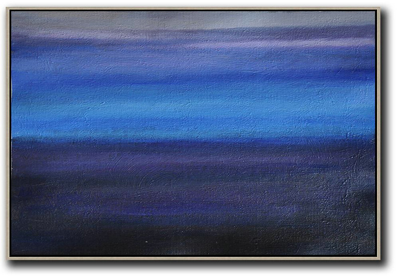 Horizontal Palette Knife Contemporary Art,Canvas Paintings For Sale,Grey,Blue,Purple,Black