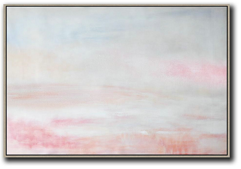 Oversized Horizontal Abstract Art,Extra Large Paintings,Grey,Pink,White