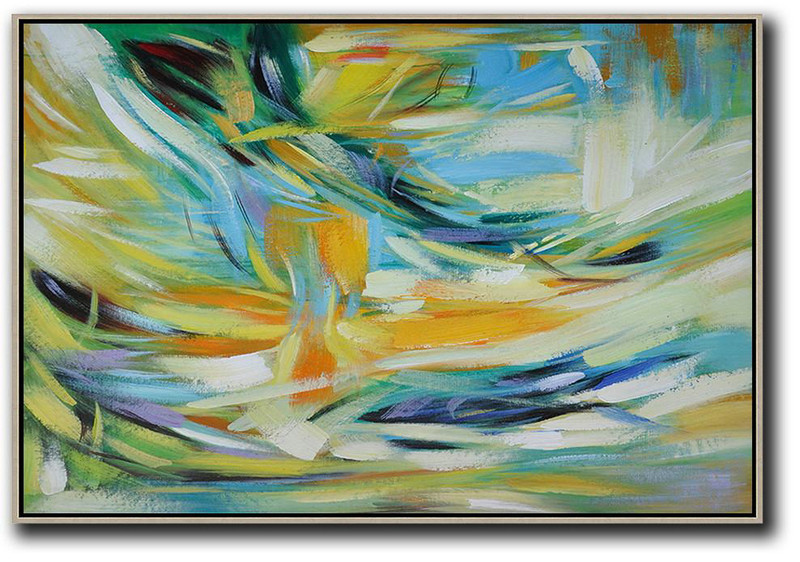 Oversized Horizontal Contemporary Art,Hand Painted Acrylic Painting,Yellow,Light Blue,Green,White