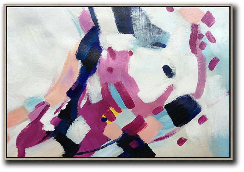 Oversized Horizontal Contemporary Art,Large Colorful Wall Art,White,Purple,Dark Blue,Pink