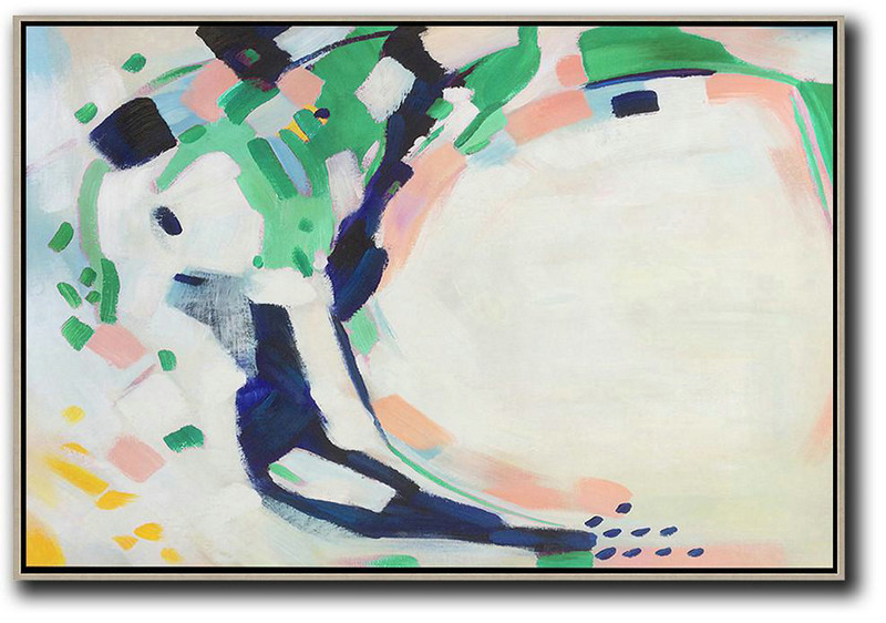 Oversized Horizontal Contemporary Art,Oversized Art,White,Grey,Dark Blue,Green
