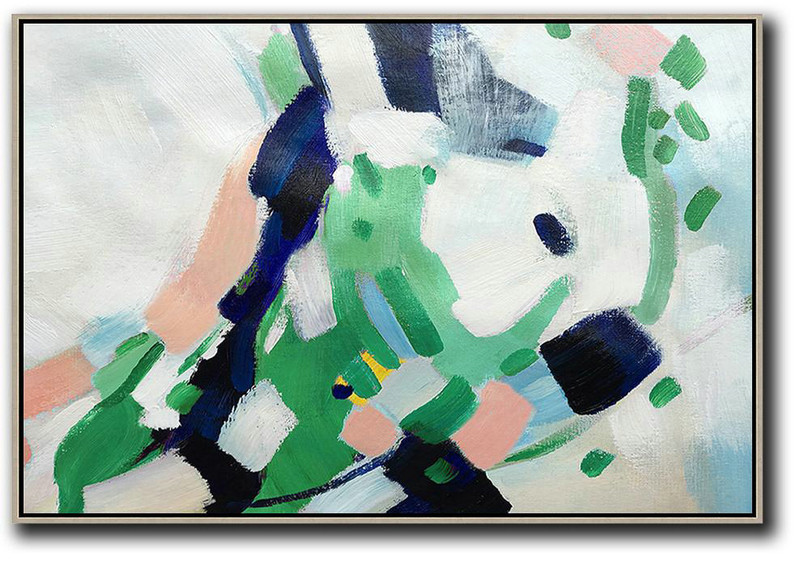 Oversized Horizontal Contemporary Art,Canvas Paintings For Sale,White,Pink,Dark Blue,Green
