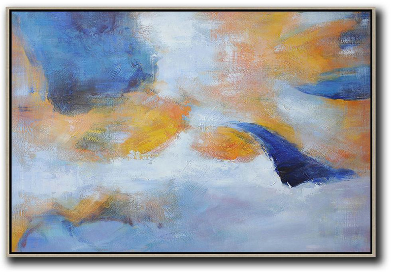 Oversized Horizontal Contemporary Art,Colorful Wall Art,Blue,Yellow,White,Grey