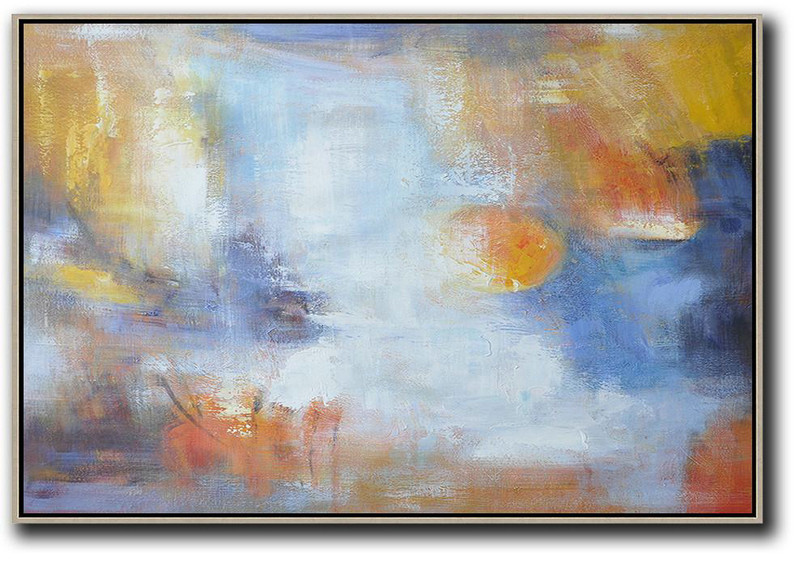 Oversized Horizontal Contemporary Art,Wall Art Ideas For Living Room,White,Blue,Yellow