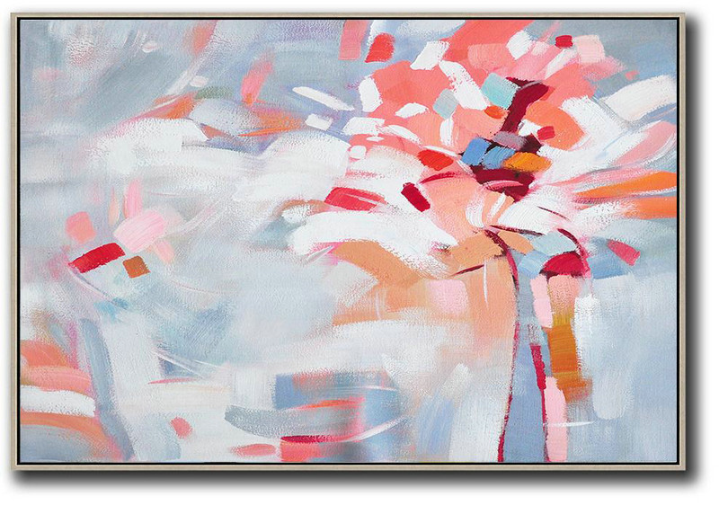 Oversized Horizontal Contemporary Art,Extra Large Artwork,White,Pink,Red,Grey