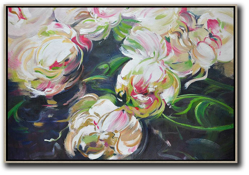 Horizontal Abstract Flower Oil Painting,Pop Art Canvas,White,Green,Black