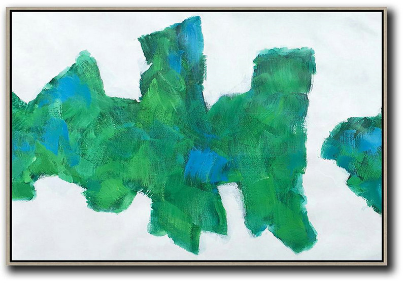 Horizontal Abstract Landscape Art,Modern Paintings,White,Green,Blue