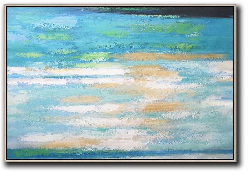 Oversized Horizontal Abstract Landscape Art,Modern Abstract Wall Art,Blue,Earthy Yellow,White