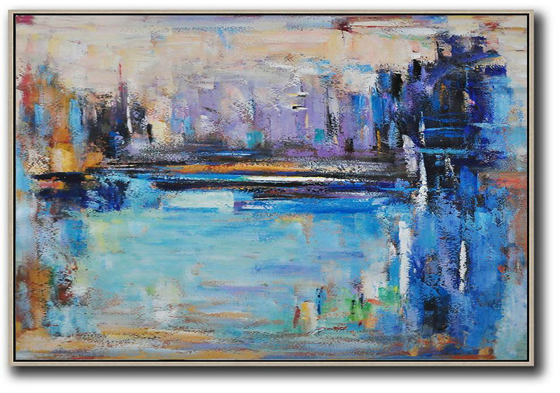 Oversized Horizontal Contemporary Art,Large Wall Canvas,Blue,Purple,Dark Blue,Brown