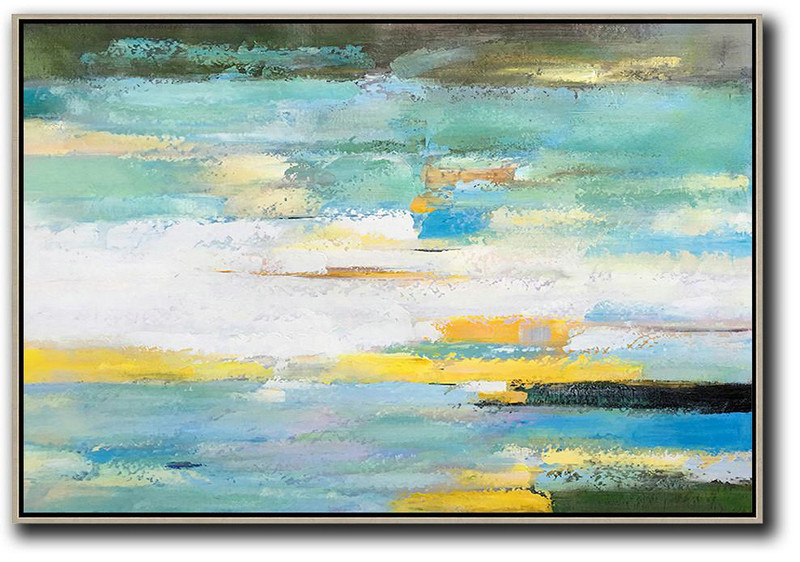 Oversized Horizontal Abstract Landscape Art,Unique Canvas Art,White,Yellow,Light Green