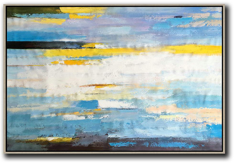 Horizontal Abstract Landscape Art,Size Extra Large Abstract Art,White,Yellow,Blue,Purple,Black