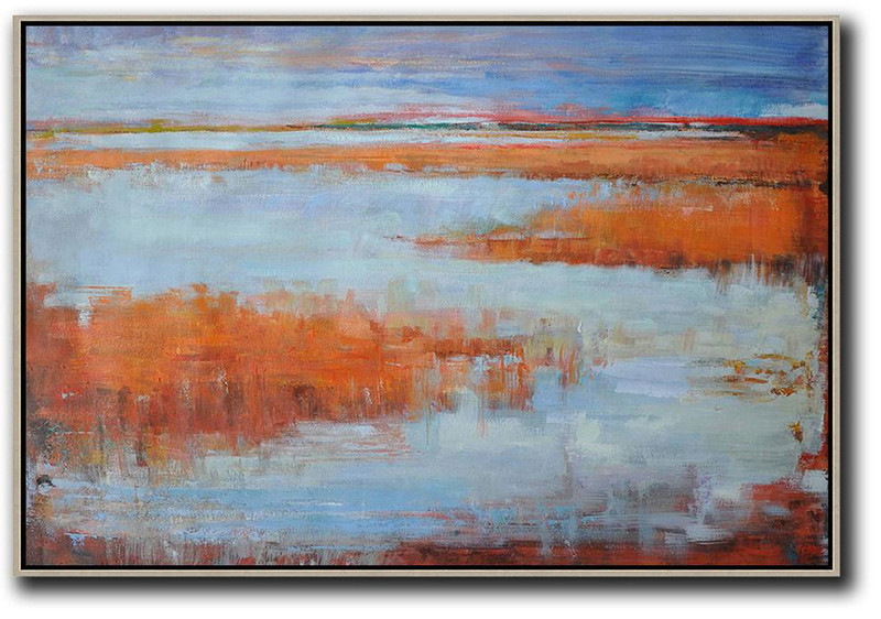 Horizontal Abstract Landscape Oil Painting On Canvas,Modern Art,Blue,Orange,Grey,Red