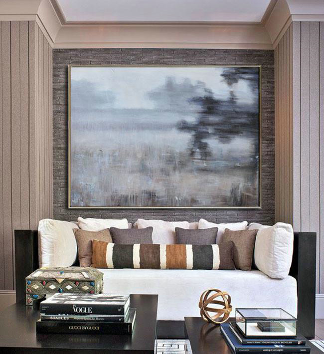 Horizontal Abstract Landscape Oil Painting On Canvas,Hand Painted Abstract Art,Grey,Black,Brown