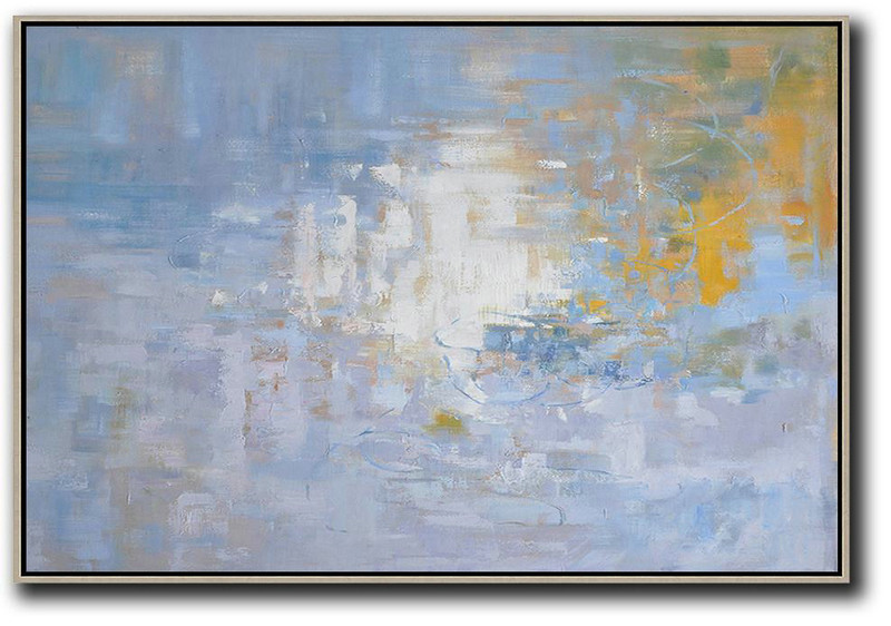 Horizontal Abstract Landscape Oil Painting On Canvas Original Art Purple Grey White Yellow Big