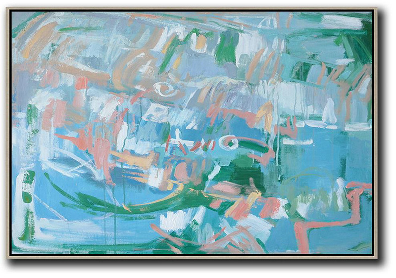 Hand Painted Horizontal Abstract Oil Painting On Canvas,Large Contemporary Painting,Blue,Green,Pink