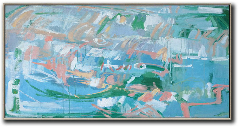 Panoramic Abstract Oil Painting On Canvas,Canvas Artwork For Sale,Blue,Green,Pink,White