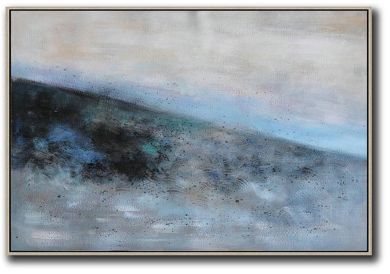 Oversized Horizontal Contemporary Art,Huge Canvas Art On Canvas,Grey,Blue,Black