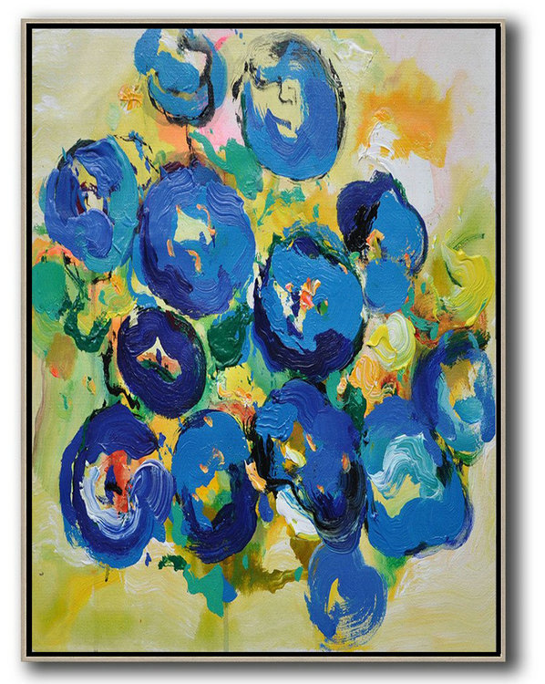 Vertical Palette Knife Contemporary Art,Acrylic Painting On Canvas,Blue,Yellow,Dark Blue