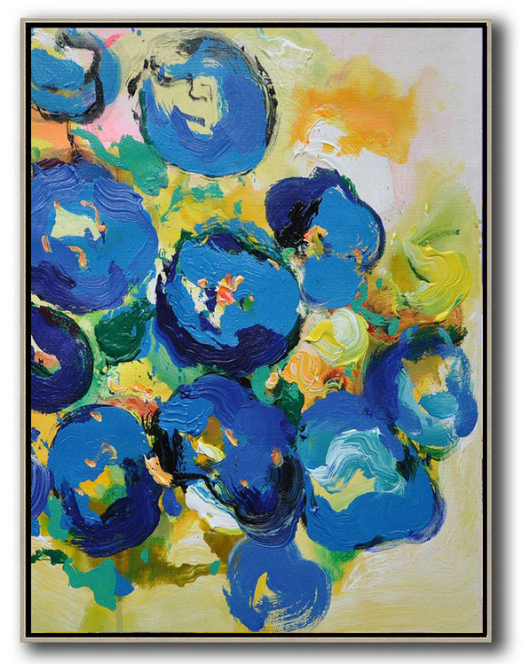 Vertical Palette Knife Contemporary Art,Huge Abstract Canvas Art,Yellow,Blue,Pink,Green