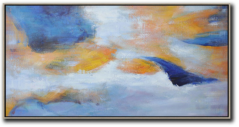 Horizontal Palette Knife Contemporary Art,Hand Painted Abstract Art,Blue,Yellow,White