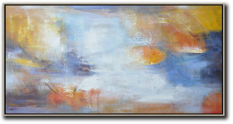 Horizontal Palette Knife Contemporary Art,Hand-Painted Canvas Art,Blue,White,Yellow