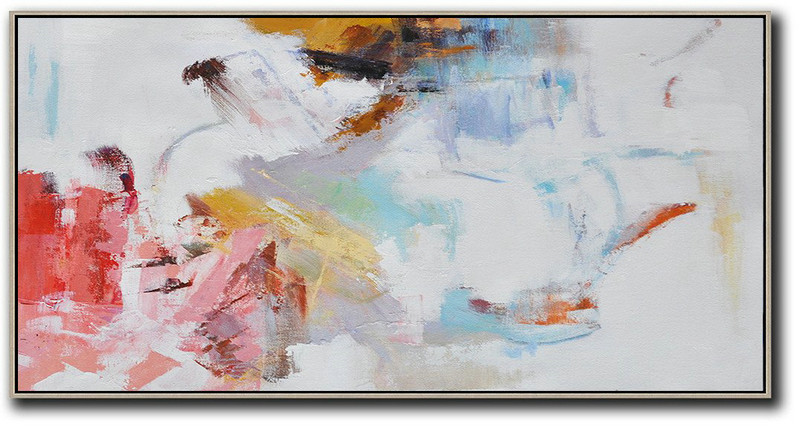 Hand Painted Panoramic Abstract Art On Canvas,Oversized Canvas Art,White,Grey,Pink,Red,Earthy Yellow