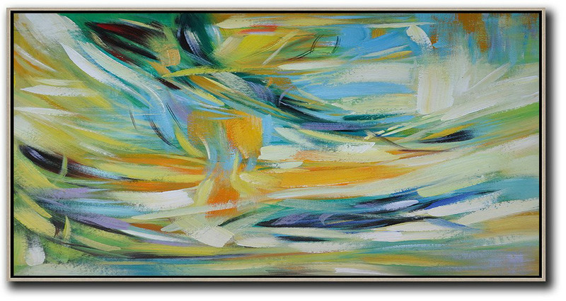 Horizontal Palette Knife Contemporary Art,Original Art Acrylic Painting,Yellow,Blue,White,Green
