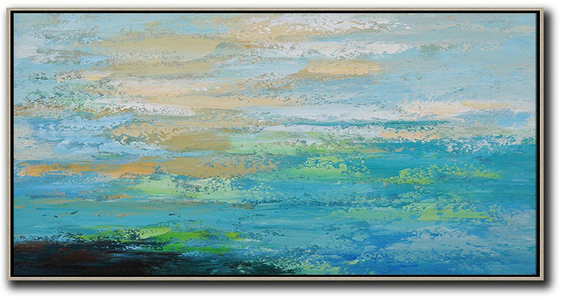Horizontal Palette Knife Contemporary Art,Living Room Canvas Art,Blue,Yellow,Black,Green