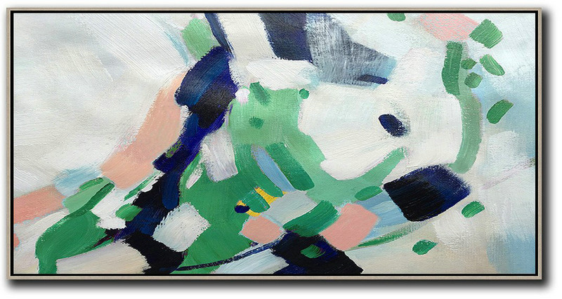 Horizontal Palette Knife Contemporary Art,Modern Abstract Wall Art,Nude,Green,White,Dark Blue