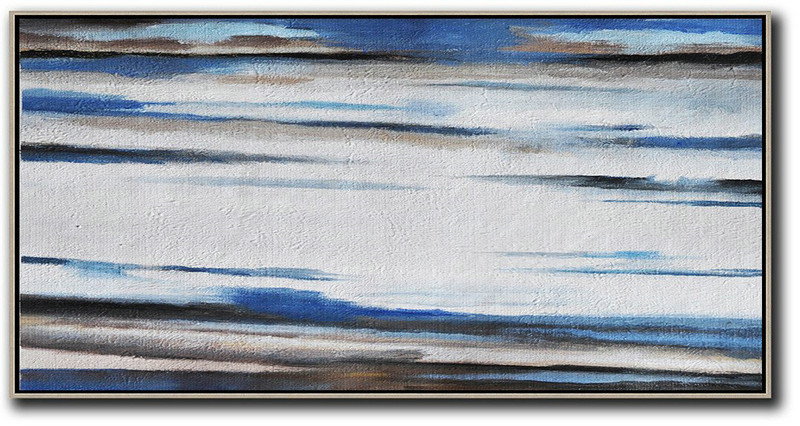 Hand Painted Panoramic Abstract Painting,Modern Art Abstract Painting,White,Blue,Brown