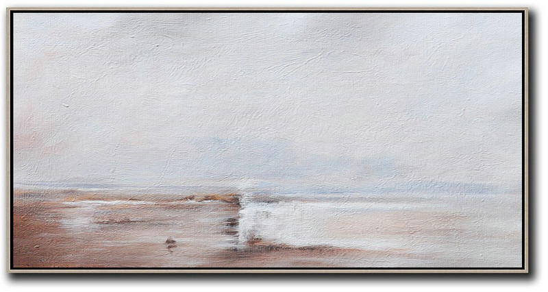 Hand Painted Panoramic Abstract Painting,Hand Painted Original Art,Beige,Grey,White