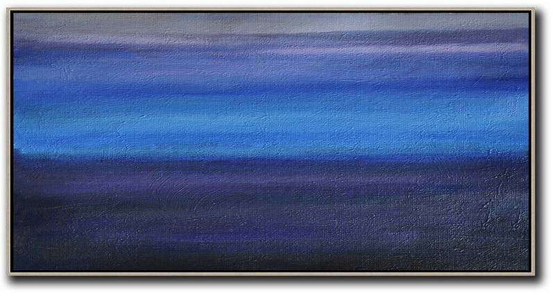 Hand Painted Panoramic Abstract Painting,Abstract Art On Canvas, Modern Art,Grey,Blue,Black