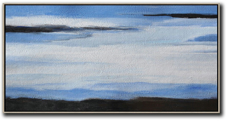 Hand Painted Panoramic Abstract Painting,Hand Made Original Art,White,Blue,Black