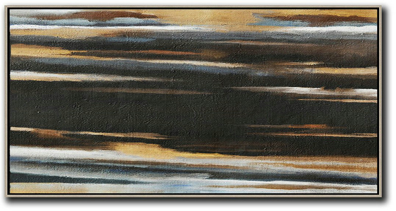 Hand Painted Panoramic Abstract Painting,Original Modern Art,Large Wall Art Handmade,Earthy Yellow ,Black,White