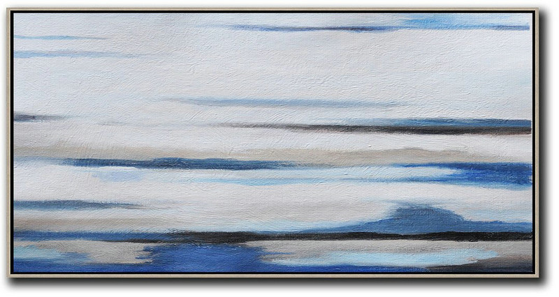 Hand Painted Panoramic Abstract Painting,Hand Paint Abstract Painting,White,Grey,Blue,Black