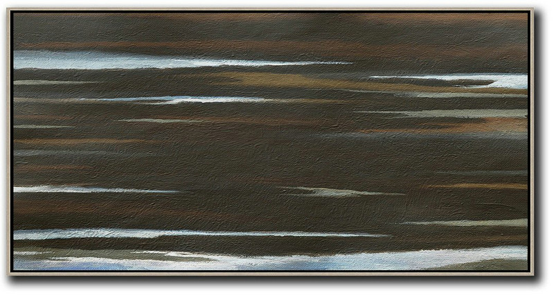 Hand Painted Panoramic Abstract Painting,Original Art Acrylic Painting,Black,Brown,White
