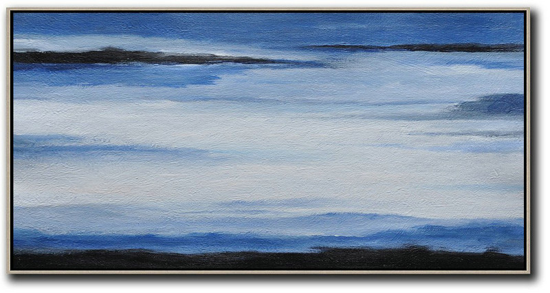 Hand Painted Panoramic Abstract Painting,Modern Art Abstract Painting,Blue,White,Black